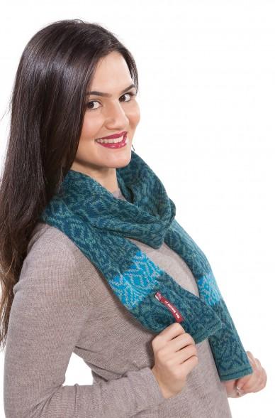 Damen Strick Schal CHIMU Alpaka-Wolle 2-farbig Jacquard Strick