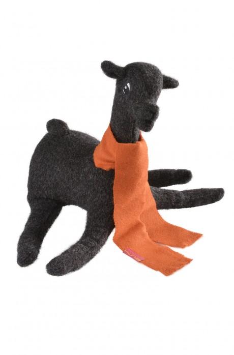Filz-Alpaka LAYKA Kuschel-Tier mit Baby-Alpaca Web-Schal Deko-Artikel KUNA ca. 27cm