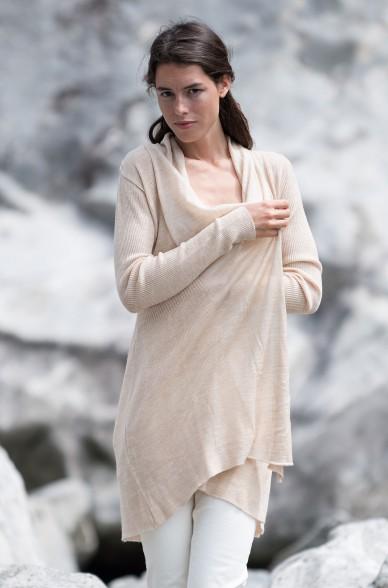 Long-Strick-Jacke CAROL Baby-Alpaka und Seide Frauen