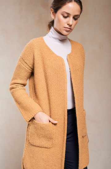 Strickjacke SILENE Damen Baby Alpaka Wolle Long Jacket