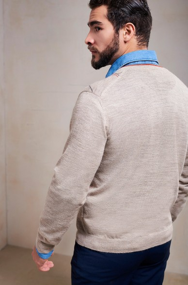 Pullover SAMIR Herren Baby Alpaka V-Ausschnitt Rauten