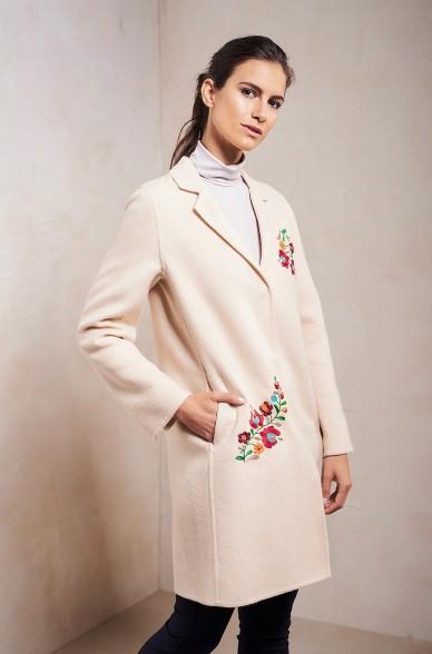 Blazer-Mantel SELINA Damen Alpaka Wolle Stickerei
