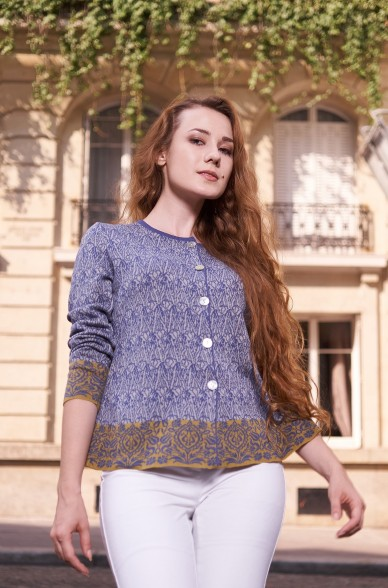 Jacquard-Cardigan MILA aus Bio-Pima-Baumwolle für Damen