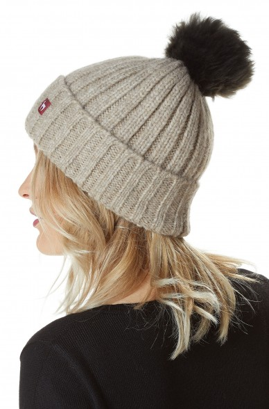 Alpaka Mütze BIANCA mit Bommel aus Baby Alpaka und Woll-Mix