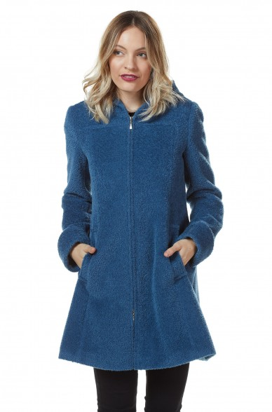 Mantel FLURINA Damen Alpaka Wolle Kapuze gefüttert
