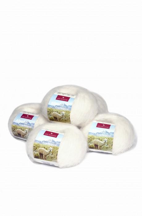 Alpaka Wolle KUSCELGARN   50g   5er Pack    89% Alpaka Superfine