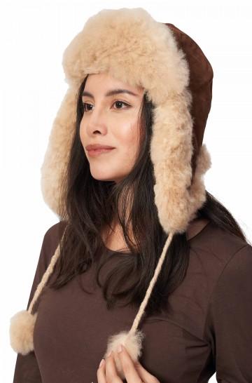 Alpaka Flieger Fellmütze aus 100% Alpaka Fell