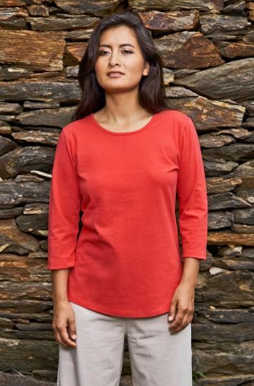 T-Shirt mit 3/4 Arm aus 100% Bio Pima Baumwolle
