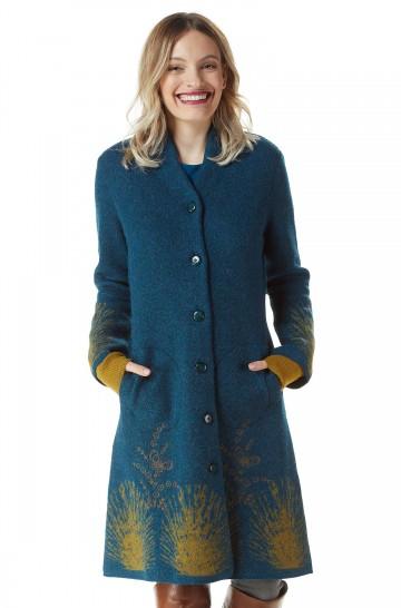 Mantel GOLDIE Damen Alpaka Wolle gefilzt Strick gemustert