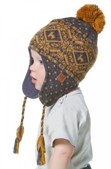 Gestrickte Mütze ANDEN ROCA für Kinder mit Ohrklappen Chullo