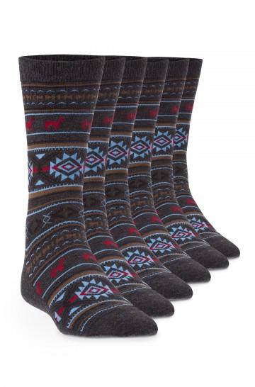 Alpaka Socken JACQUARD 6er Pack aus 70% Baby Alpaka und 25% Pima Baumwolle