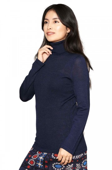 Rollkragen Pullover MADAI Unifarben Feinstrick