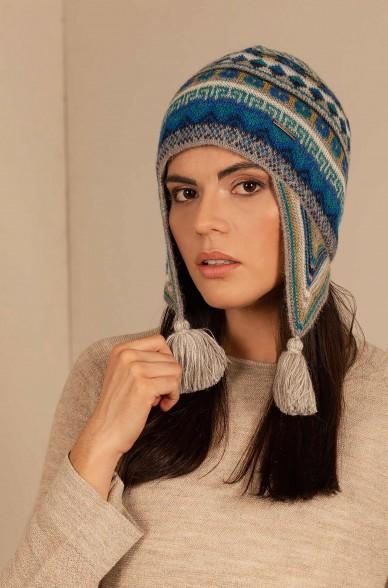 Inka Mütze UZBEK mit Quasten aus Baby Alpaka