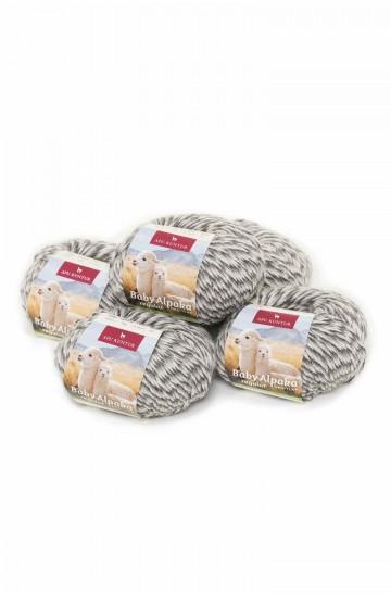5er-Pack Baby-Alpaka Wolle REGULAR 5x50g 100m Nadel 4-4,5 Strick-Häkel-Garn Nm 4/8 APU KUNTUR