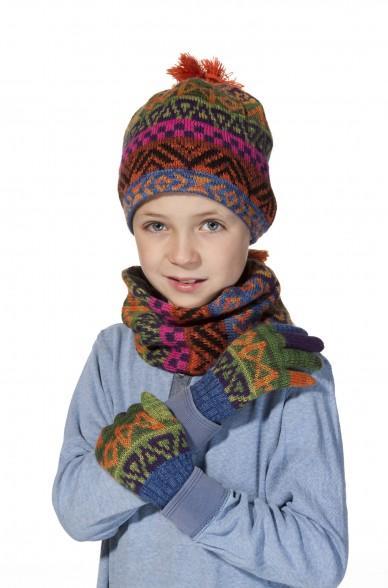Kinder Loop Schal AQUARELL  mit Baumwoll Innenfutter von APU KUNTUR_11506