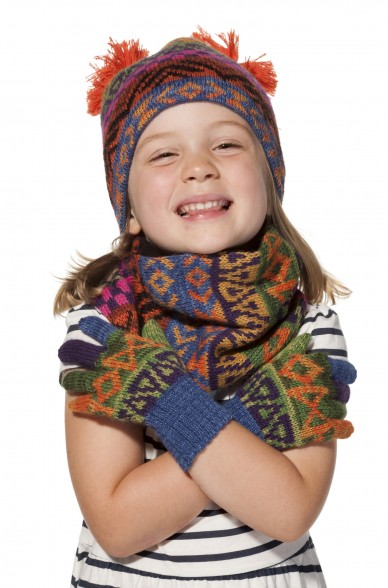 Kinder Loop Schal AQUARELL  mit Baumwoll Innenfutter von APU KUNTUR_11545